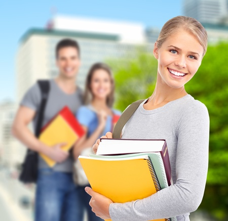 study group: Young student woman  Stock Photo