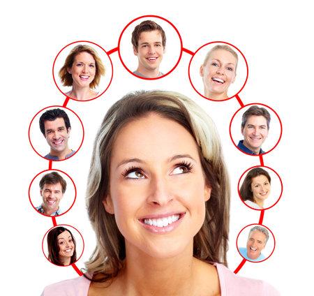 virtual community: Beautiful woman thinking