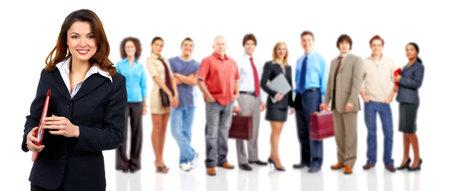 Femme et le groupe de gens d'affaires