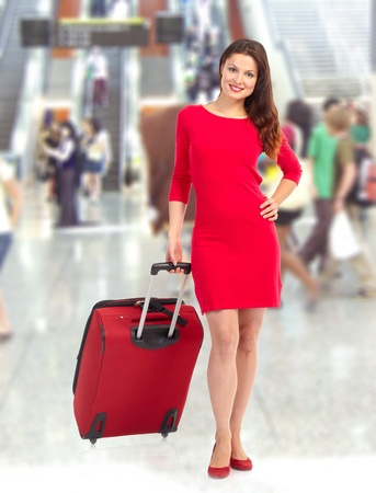 Woman tourist at the airport  photo