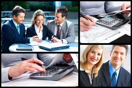 tax form: Business people collage  Stock Photo