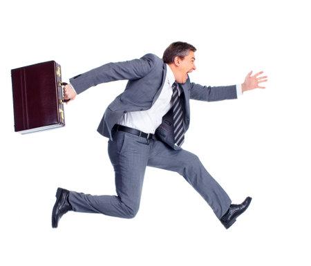 in run: Harry running businessman