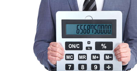 Accountant businessman with calculator   Isolated on white background  photo