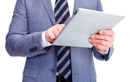 Hands of businessman with tablet computer   Isolated on white background