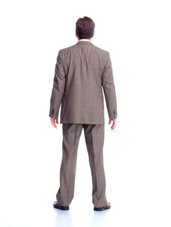 full suit: Businessman back  Isolated on white background