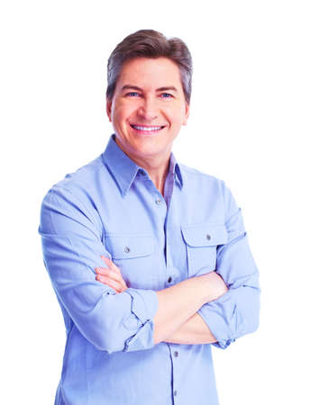 crossed arms: Handsome smiling man  Stock Photo