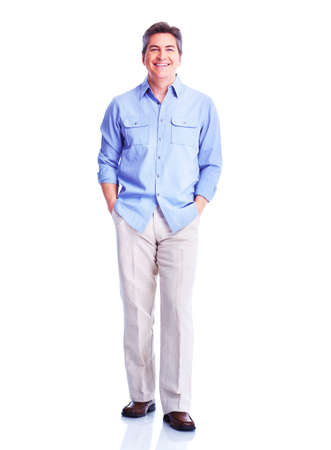 brown clothes: Handsome smiling man  Stock Photo