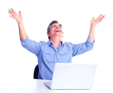 Happy man with laptop computer Stock Photo - 13007217