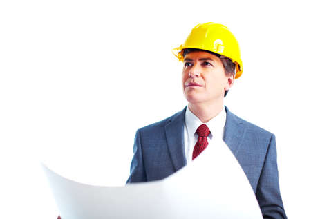 construction plans: Engineer businessman  Stock Photo
