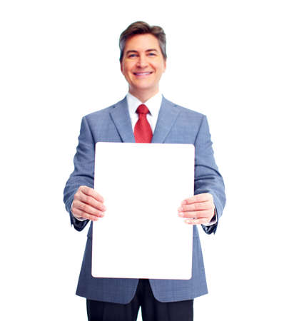 financial adviser: Businessman with banner
