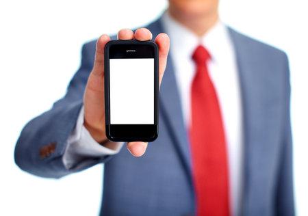 Homme d'affaires avec un téléphone Banque d'images - 13054650