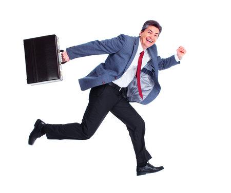Happy running businessman