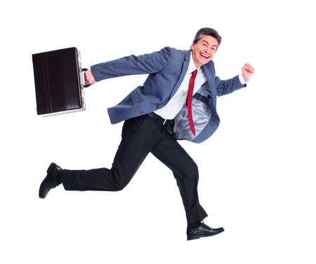 jump suit: Happy running businessman