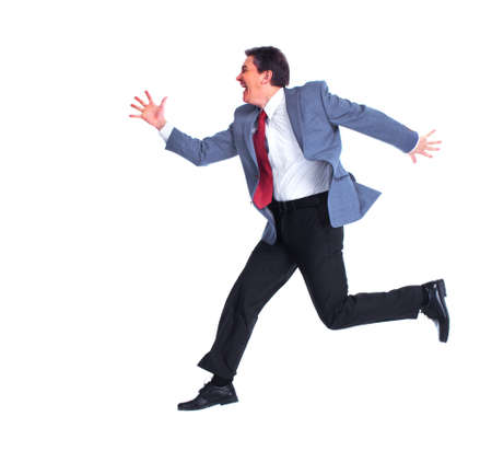Happy running businessman  photo