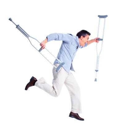 crutch: Man with crutch