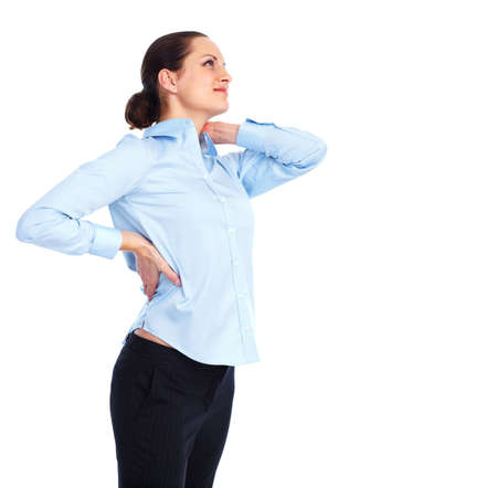 back ache: Woman having  a back pain  Stock Photo