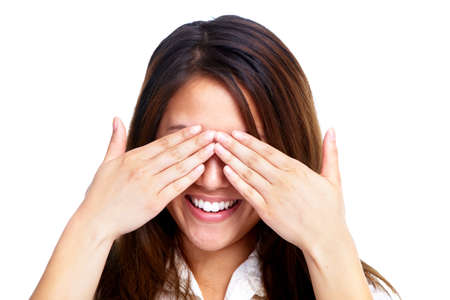 shyness: Young shy woman hiding your face  Stock Photo
