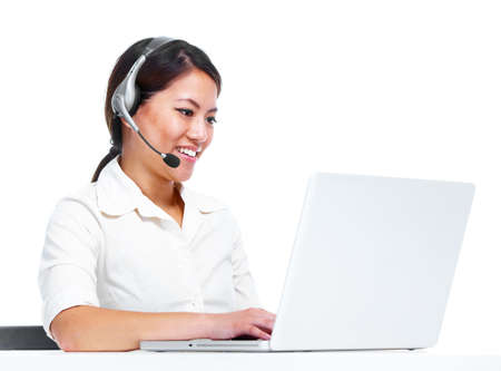 Young chinese businesswoman with headset  photo