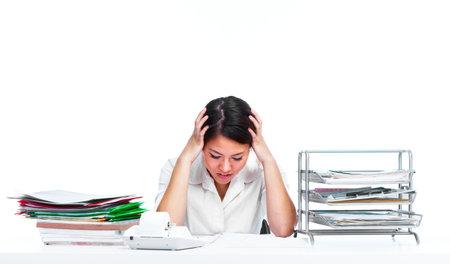 woman headache: Young business woman having a stress