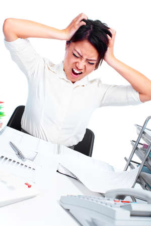 Young business woman having a stress  photo