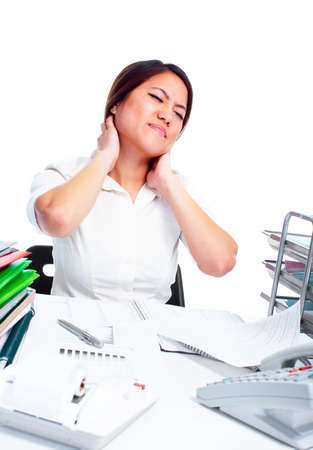 neck pain: Young business woman having a neck pain