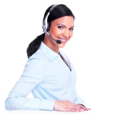 customer service representative: Call center operator business woman