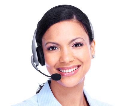Llame al operador del centro de la mujer de negocios Foto de archivo