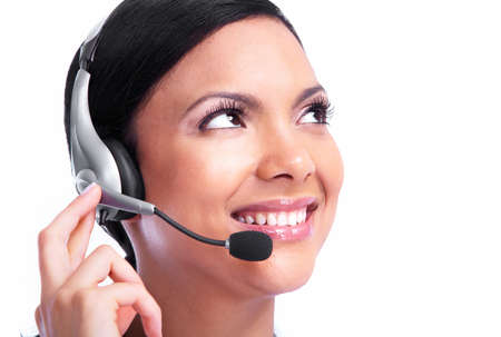 contact: Call center operator business woman