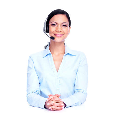 customer support: Call center operator business woman