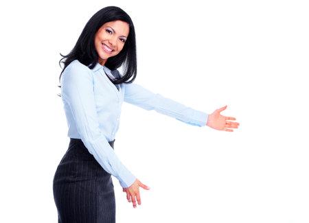 bienvenida: Joven mujer de negocios