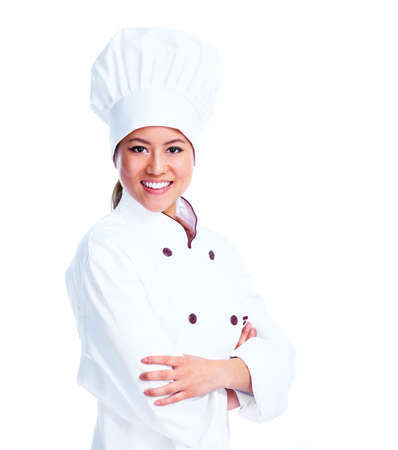 chinese hat: Young chinese chef woman