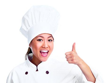 Jonge Chinese chef-kok vrouw