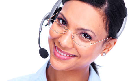 customer service representative: Call center operator business woman