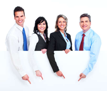 Group of business people with banner  Stock Photo - 13388348