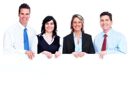 Group of business people with banner  Stock Photo - 13388346