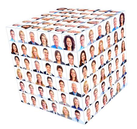 kocka: Üzleti fős csoport Cube kollázs Stock fotó