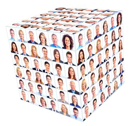 collage caras: Persona de negocios del grupo Cubo del collage Foto de archivo