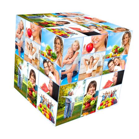 pareja saludable: Collage feliz a las personas sanas