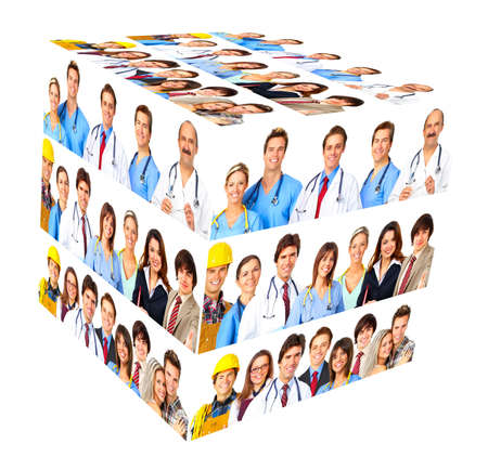 Set of workers business people