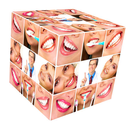 Woman smile cube collage  photo