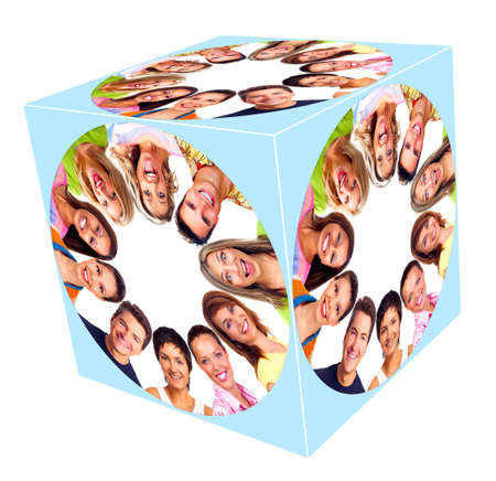 collage people: People smile cube collage  Stock Photo