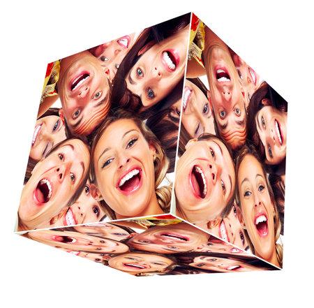 collage caras: La gente sonr�e collage cubo