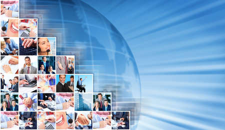 community service: Business people collage background