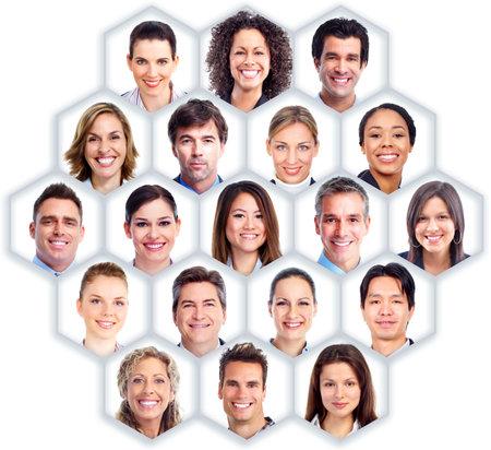 collage caras: La gente de negocios del grupo Foto de archivo