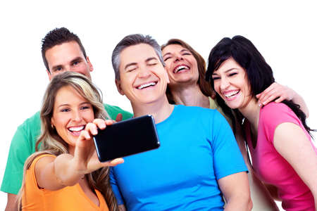 electronic background: Group of happy people with a smartphone  Stock Photo