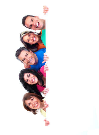 message: Group of happy people with banner  Stock Photo