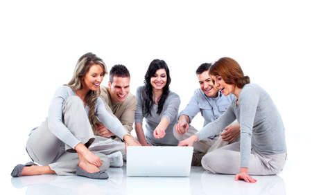 Group of people with laptop computer  Stock Photo - 13598425