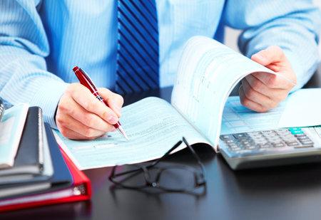 financial adviser: Hands of businessman  Stock Photo