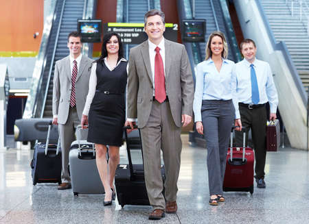 airport business: Group of business people at the airport  Stock Photo