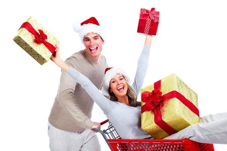 shopping cart: Shopping Christmas couple  Stock Photo